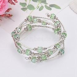 Bracelets enroulés à la mode, avec des perles de verre rondelles, Coupelles de style tibétain , laiton perles de tubes et de fils d'acier de la mémoire, lightgreen, diamètre intérieur: 55 mm(X-BJEW-JB00628-06)