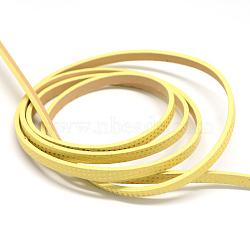 Cordons plats en similicuir, couleur aléatoire sur le dos, jaune, 5x2 mm; environ 1.2 m / brin(X-LC-Q009-07C)