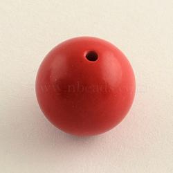 Круглые бусины киноварь, огнеупорный кирпич, 8 мм, отверстие : 1.5 мм(CARL-Q002-8mm)
