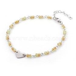 """Perles de verre de cheville de charme, avec les accessoires en métal, Rondelle et coeur, Darkkhaki, 9-1/2"""" (24 cm), 4~4.5mm(AJEW-AN00235-05)"""