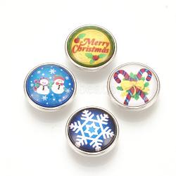 Boutons-pression de verre en laiton motif Noël, boutons de bijoux, plat rond, platine, couleur mixte, 18x9 mm; bouton: 5.5 mm(SNAP-Q007-097P-M)