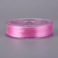 Chaîne de cristal élastique plat, fil de perles élastique, pour la fabrication de bracelets élastiques, rose, 0.8 mm; environ 100 m/rouleau(EW-WH0002-01C)