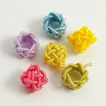 Handmade Nylon Cord Woven Elastic Beads, Column, Mixed Color, 7x5mm, Hole: 4mm(WOVE-D003-M)