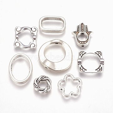Tibetan Style Alloy Bead Frames, Mixed Shapes, Antique Silver, 10~22.5x9~21x2.5~4mm, Hole: 1~1.5mm, about 65~97pcs/100g(TIBEB-MSMC008-11AS)