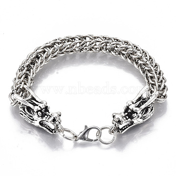 Men's Alloy Wheat Chain Bracelets, with Lobster Claw Clasps, Dragon, Antique Silver, 8-1/2 inches(21.5cm)(X-BJEW-T014-09AS)