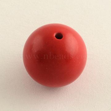 8mm FireBrick Round Cinnabar Beads