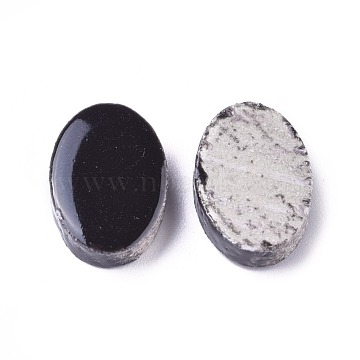 18mm Black Oval Porcelain Cabochons
