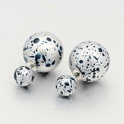 Горячий продавать двусторонний спрей окрашены акриловой мяч уха шпильки, светло-синие, мяч : 8 мм и 16 мм; пин : 0.8 мм(EJEW-O014-M05)