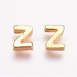 Breloques en laiton, véritable 18k plaqué or, letter.z, 5x4x2mm, Trou: 1mm(KK-P081-Z)