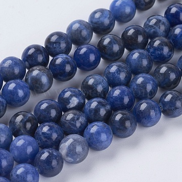Natural Sodalite Beads Strands, Round, 8mm, Hole: 1mm, about 48pcs/strand, 15.75 inches(X-G-G448-8mm-25)