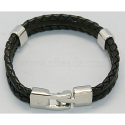 bracelets cordon en cuir multi-brins, avec les résultats et les fermoirs alliage, noir, 220x12 mm(X-BJEW-H220-4)