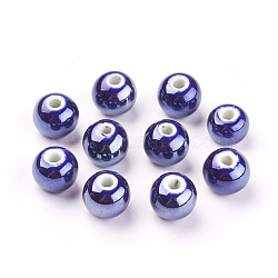 Perles Darkblue rondes à la main en porcelaine, 10mm, Trou: 2~3mm(X-PORC-D001-10mm-14)