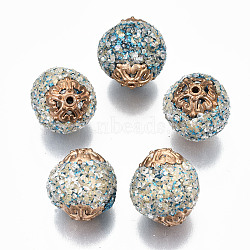 Handmade Indonesia Beads, with Glitter Sequin, Chip Gemstone and Golden Tone Brass Findings, Round, Deep Sky Blue, 18~19x16~18mm, Hole: 1.2~1.5mm(IPDL-N003-005)