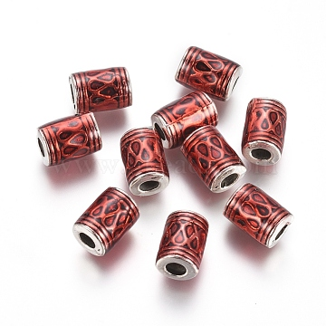 Antique Silver Plated Alloy Beads, with Enamel, Column, Red, 10x7mm, Hole: 3mm(ENAM-L031-E01-AS)