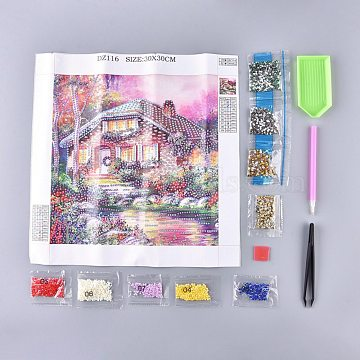 5D DIY Diamond Painting Stickers Kits For Kids, with Diamond Painting Stickers, Resin Rhinestones, Diamond Sticky Pen, Tweezers, Tray Plate and Glue Clay, Forest Cabin Pattern, Mixed Color, 30x30cm(DIY-R076-012)