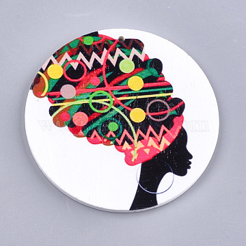 Printed Wooden Big Pendants, Dyed, Flat Round with Human Head, Colorful, 60x2.5mm, Hole: 1.5mm(X-WOOD-S048-49)