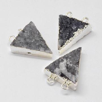 Silver Gray Triangle Natural Agate Pendants
