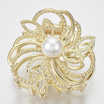 Alloy Claw Hair Clips, with ABS Plastic Imitation Pearl, Long-Lasting Plated, Textured, Flower, Light Gold, White, 46x47x36mm(X-PHAR-N004-014)