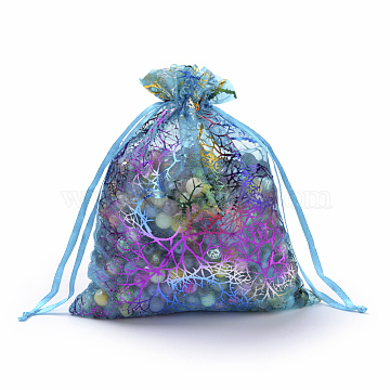Organza Gift Bags, Drawstring Bags, with Colorful Coral Pattern, Rectangle, Dark Turquoise, 18x13cm(X-OP-Q051-13x18-01)