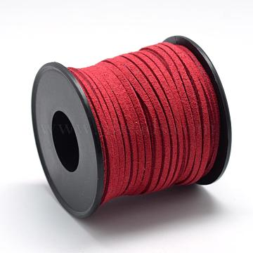 Faux Suede Cords, Faux Suede Lace, FireBrick, 2.7x1.5mm, about 27.34 yards(25m)/roll(LW-R027-2.7mm-1049)