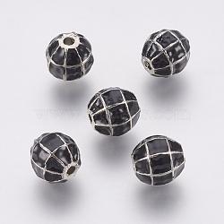 Perles d'émail en alliage, rond, noir, platine, 10x9mm, Trou: 1.2mm(PALLOY-G230-65P)