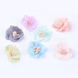 Accessoires de costumes tissés en tissu manuels, fleur, couleur mixte, 39~43x10~11mm(WOVE-Q064-03)