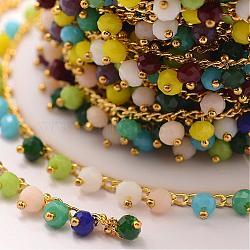 faits à la main des chaînes de perles de verre, soudé, avec bobine, avec les résultats en laiton, coloré, 7x4 mm; sur 10 m / rouleau(AJEW-P061-A03)