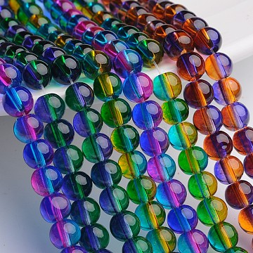 Hole 8mm Spray Painted Multi color Glass Beads Round 1mm