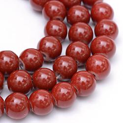 """Perles en verre peintes, cuisson des peintures, rond, DarkRed, 6 mm; trou: 1.3~1.6 mm, Environ 133 pcs/chapelet, 31.4""""(X-DGLA-S071-6mm-B20)"""