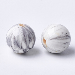 Perles acryliques imprimées, rond, gris clair, 17.5x17mm, Trou: 2.5mm(MACR-T024-45)