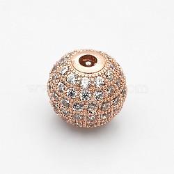 Perles de zircone cubique de grade AAA de micro pave, Sans cadmium & sans nickel & sans plomb, rond, clair, or rose, 8mm, Trou: 1.7mm(KK-E711-116-8mm-RG-NR)