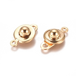 304 Stainless Steel Snap Clasps, Flat Round, Golden, 15x9x5mm, Hole: 1.5mm and 2mm(X-STAS-I137-06G)