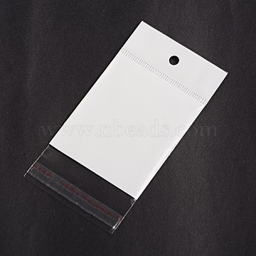 Rectangle Cellophane Bags, White, 12x6.1cm, Unilateral Thickness: 0.1mm, Inner Measure: 7.2x6.1cm, Hole: 6mm(OPC-F001-03D)