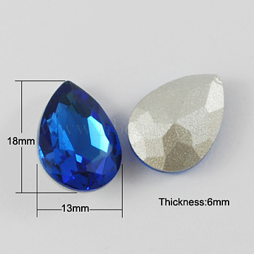 Glass Pointed Back Rhinestone, Back Plated, Faceted, Teardrop, Royal Blue, 18x13x6mm(X-RGLA-Q002-12)