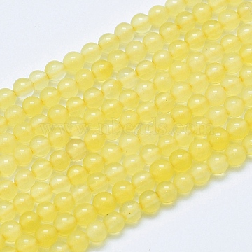 3mm Yellow Round Natural Agate Beads