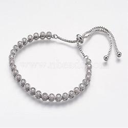 """Bracelets en zircone cubique en laiton réglable, clair, 1-5/8"""" (40 mm)(BJEW-F236-01)"""