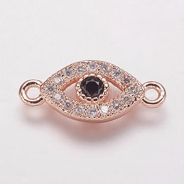 laiton zircone cubique liens, mauvais œil, noir, or rose, 7x15.5x2 mm, trou: 1 mm(KK-P134-61RG)