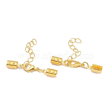 Golden Brass Chain Extender with Alloy Lobster Claw Clasp and Folding Crimp Ends, 35x11mm, Hole: 4mm, Tail Chain: about 40mm long; Lobster Claw Clasp: 11x6x3mm, Cord End: 10x5mm(X-KK-E179-G)