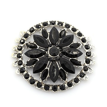 Antique Silver Black Flat Round Alloy + Rhinestone Links