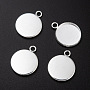 304 Stainless Steel Pendant Cabochon Settings, Plain Edge Bezel Cups, Flat Round, Silver, Tray: 14mm; 20x16x2mm, Hole: 2mm