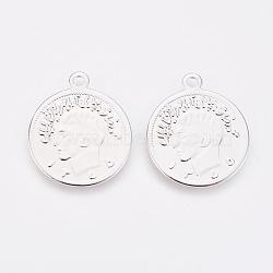 Pendentifs de monnaie en laiton, sans nickel, plat rond, Platine plaqué réel, 20x17x0.7mm, Trou: 1.5mm(KK-K230-21P-NF)