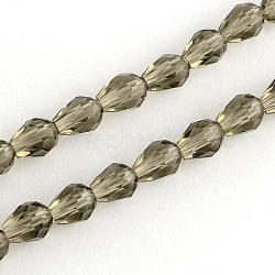 Стеклянные бусины, кристалла Suncatcher, граненые, капля, темно-серый, длиной около 9 мм , толщиной 5 мм , отверстие : 1.5 мм, около 69 шт / нитка(X-GC890Y-7)