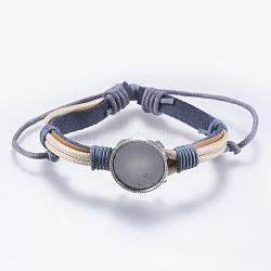 """Création de bracelet en peau de vache, avec les supports cabochons en alliage, plat rond, grises , plateau: 16mm; 1-3/4""""~2-1/8"""" (45~55mm)(MAK-S065-AS03)"""