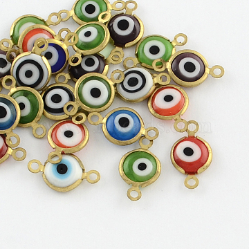 Evil Eye Handmade Lampwork Links connectors with Golden Tone Brass Findings, Mixed Color, 17x10~11x3mm, Hole: 1.5mm(X-LAMP-R117-03)
