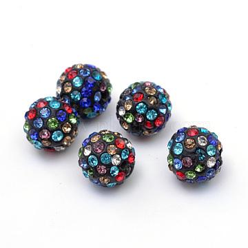 Perles en strass pavé d'argile polymère, perles de boule de disco, colorées, 12mm, Trou: 1.5mm(X-RB-Q197-12mm-30)