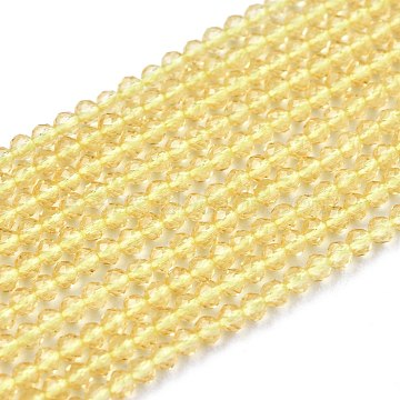 Glass Beads Strands, Imitation Quartz, Faceted, Round, Light Goldenrod Yellow, 2mm, Hole: 0.5mm,  about 175pcs/strand, 14.9 inches(38cm)(G-K185-16G)