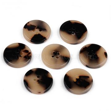 4-Hole Cellulose Acetate(Resin) Buttons, Tortoiseshell Pattern, Flat Round, Wheat, 15x2.5mm, Hole: 1.8mm(BUTT-S026-001B-04)