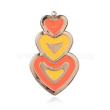 Light Gold Plated Iron Enamel Pendants, Three Heart Big Pendants, Gold, 66x38x2mm, Hole: 2mm(IFIN-J062-04KCG)