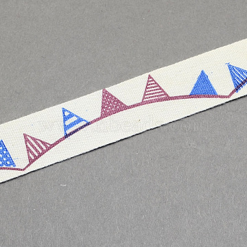 Cartoon Printed Cotton Ribbon, FireBrick, 5/8inch(15mm); about 20yards/roll(18.28m/roll)(OCOR-S026-14)
