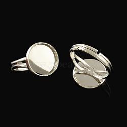 Composants d'anneau ajustable en laiton, accessoires de bague de pad, avec des supports cabochons de lunette ronde plat, platine, plateau: 12 mm; 17 mm(X-KK-Q573-004P)
